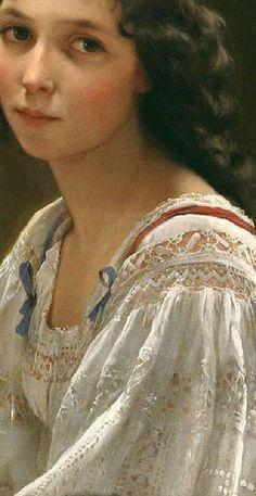 Traveling through history of Art.Portrait of a Young Woman, detail, by Emile Munier, William Adolphe Bouguereau, Paintings I Love, Beautiful Paintings, Pintura Colonial, Munier, Classical Art, Renaissance Art, Art Plastique, Female Art