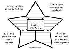 Perfect for the start of a new school year too! Memories and Goal Setting Craftivity for K to 3rd Grade. Great opportunity to teach reflection and goal setting skills.