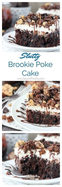 The best of all worlds, this Slutty Brookie Poke Cake is a chocolate cake filled with chocolate pudding, topped with whipped cream and crush Oreos, Brownies and Chocolate Chip Cookies.