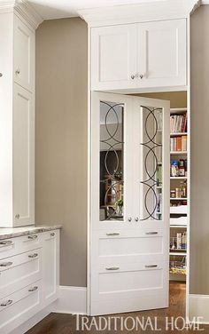 hidden pantry door in kitchen w/ overhead storage Kitchen Pantry Cabinets, Kitchen Storage, Tall Cabinet Storage, Kitchen Appliances, Kitchen Backsplash, Kitchen And Bath, New Kitchen, Kitchen Decor, Kitchen Ideas