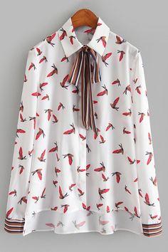 Full Birds Print Long Sleeve High Low Shirt