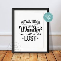 Not All Those Who Wander Are Lost Quote, Typographic 8x10 Printable Wall Art, Black Distressed Typography, Modern Insprational Home Decor by StarsAndType on Etsy
