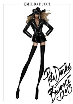 Croquis Emilio Pucci de Peter Dundas pour Beyoncé