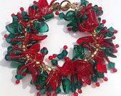 Christmas Bracelet, Holly beaded Bracelet,Czech Glass beaded bracelet,Christmas jewelry, Swarovski Crystals,Czech Beads,Red,green,beads,gift