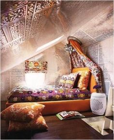 Wonderful DIY Bohemian Bedroom Decor Ideas, Amazing Attic Bedroom Ideas On A Budget Hippie Room Decor, Bohemian Bedroom Decor, Boho Room, Home Decor Bedroom, Bedroom Ideas, Boho Decor, Decor Room, Bed Ideas, Gypsy Room