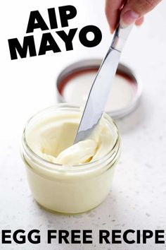 If youre looking for an egg free mayo recipe youve got to try this AIP Mayo (Egg Free Mayo Recipe). Its thick and creamy just like the real thing but totally AIP. This recipe is also Vegan Paleo and AIP friendly. Egg Free Mayo Recipe, Egg Free Recipes, Diet Recipes, Cooking Recipes, Dairy Free Mayo, Aip Recipe, Whole30 Recipes, Healthy Recipes, Autoimmune Diet