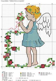 alfabeto fiorito con angioletto E