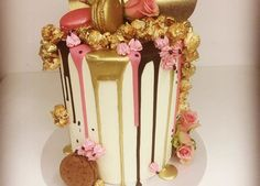 Gold, Pink and Dark Chocolate Drip Cake