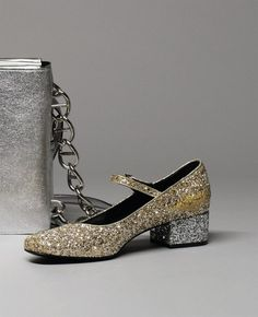 Mary jane in gold and silver glitter by Saint Laurent, featured in AnOther Magazine A/W14