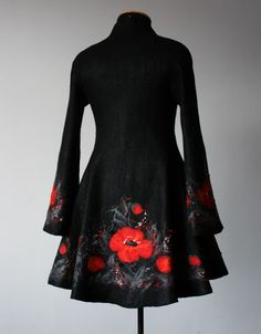 wet felted coat with poppy border beautiful fairytale grimm and fairy fashion coat romantic gothic european folk  style for valentines day