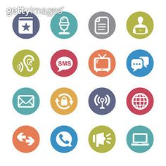 Communication and Media Icons Set - Circle Series - gettyimageskorea