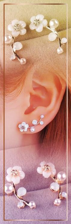 These flower stud earrings are cute and fun to wear They are perfect to wear with your favorite outfit and you can also give them as a gift so make sure you order an extra pair today! Cute Jewelry, Pearl Jewelry, Jewelry Box, Silver Jewelry, Jewelry Accessories, Fashion Accessories, Silver Earrings, Stud Earrings, Diy Schmuck