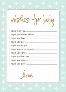 Wishes for baby, a great baby shower activity with guests and keepsake for the mom-to-be for when the baby gets older!