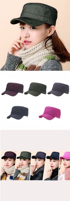 Women Vintage Solid Denim Cotton Flat Top Caps Adjustable Military Sunshade Cap Baseball Caps