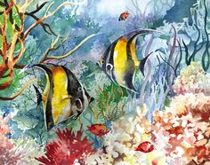 Watercolor Art Print featuring the painting Tropical Fish And Coral by Beth Kantor