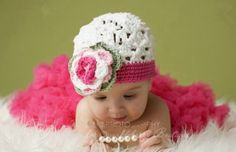 Newborn Crochet pretty babygirl pink dress Outfit Hat by Evanplus, $18.95