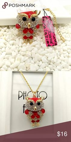 💋BJ Novelty Rhinestone Owl Necklace Brand new with tag! Stunning gold necklace with red enamel and accented with silver rhinestones! This owl is cute and movable! Betsey Johnson Jewelry Necklaces