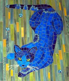 blue cat mosaic, stained glass, millefiori, gold wire for whiskers. by Christine Brallier Mosaic Crafts, Mosaic Projects, Mosaic Art, Mosaic Glass, Mosaic Tiles, Blue Mosaic, Tiling, Mosaic Animals, Mosaic Madness