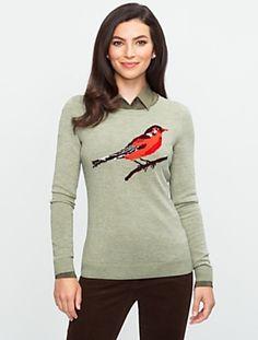 Talbots - Bird sweater - love this - sweater is lightweight. Wear with a silk denim colored shirt underneath, houndstooth blazer.
