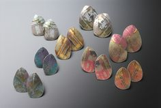 Jane Adam jewellery - leaf earstuds in dyed anodised aluminium Average size: 30 x 20mm
