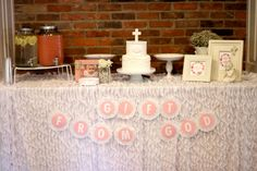 Church Dedication/Baptism Party Ideas - love this sweets table with DIY banner