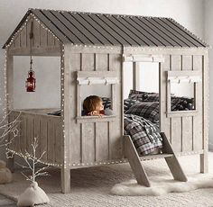 Cabin Bed Cabin Bed,kids bedroom home decor house projects side table wood projects stand ideas Cabin Beds For Kids, Kids Bunk Beds, Diy Cabin Bed, Cool Beds For Kids, Kids Room Design, Bed Design, Shape Design, Playroom Design, Playroom Ideas