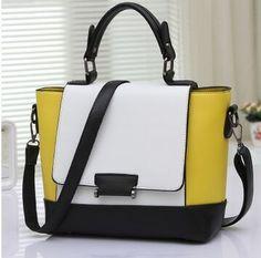Vintage-Style Color-Block PU Leather Fashion Shoulder Handbag 9 Colors