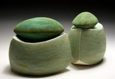 """MARIELLA FUNK,    A place for both of us, (2007),  Earthenware,  Oxidation, Lowfire  8"""" x 5.5"""" x 6.25"""""""