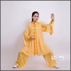 Silk crepe tai chi suit with butterfly sleeves.