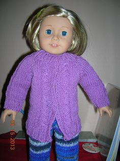 American Girl Doll Cabled Sweater pattern