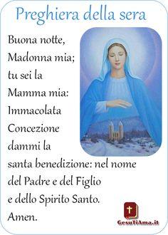 Buonanotte Madonnina Mia Preghiera per la Sera Madonna, Movie Posters, Quotes, Film Poster, Billboard, Film Posters