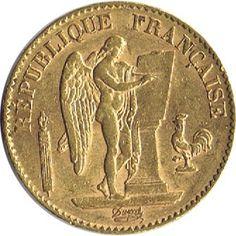 Moneda de oro 20 francos Francia 1893.