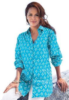 6e599bbe9fc Roamans Women s Plus Size Kate Print Bigshirt (Paradise Blue Print