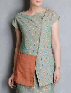 Buy Green-Orange Ikat Cotton Tunic by Indian August Online at Jaypore.com Tunic Designs, Dress Neck Designs, Kurta Designs, Indian Attire, Indian Wear, Blouse Batik, Pakistani Fashion Casual, Shirt Refashion, Tunic Shirt