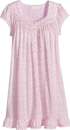 Eileen West Pink Scroll Cotton Short Nightgown,Sleep Cool and Comfy in Soft Cotton Knit Nightgown Gown Style Dress, Night Gown Dress, Fashion Wear, Fashion Dresses, Gothic Fashion, Nightgown Pattern, Girls Dresses Online, Indian Designer Suits, Night Dress For Women