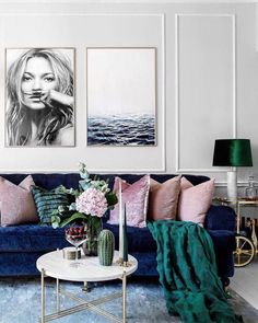 #LeatherLivingRoomSet Blue Couch Living Room, Glam Living Room, Blue And Pink Living Room, Living Room Ideas Velvet, Jewel Tone Living Room Ideas, Living Room Decor With White Walls, Blue Living Room Furniture, Pink Living Rooms, Art For Living Room