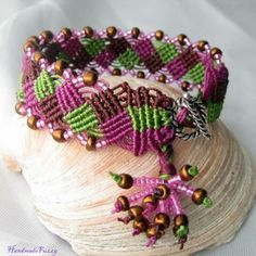 """""""a night out"""" micro macrame bracelet by handmadefuzzy for $22.00"""