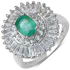 Malaika Sterling Silver 2 7/8ct TGW Emerald and White Topaz Ring. I need this.