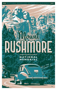 Mount Rushmore Gutzon Borglum Memorial Highway – My Store Art Deco Posters, Vintage Travel Posters, Poster Prints, Vintage Ski, Vintage Postcards, National Park Posters, National Parks, Mount Rushmore, Vintage Hawaii