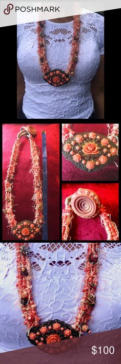 Handmade bohemian statement necklace Unique one of a kind statement necklace.  Using an antique brach as a center piece, wrapped cord and hand sewn decorative details using seed beads, regular beads and other embellishment.  Comfortable to wear and can be dressed up or down. Jewelry Necklaces