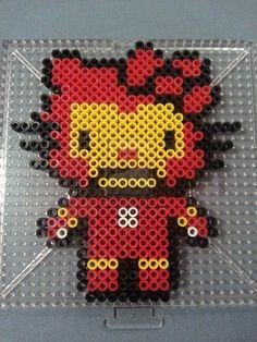 Hello Kitty Iron Man Perler Bead Figure by AshMoonDesigns on deviantART