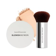 bareMinerals Blemish Remedy Foundation Clearly Porcelain Buffing Brush ❤ liked on Polyvore featuring beauty products, makeup, makeup tools, makeup brushes and bare escentuals