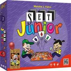 SET Junior uses the familiar SET gameplay, but scaled down in difficulty for younger players. In SET, players want to create sets of three cards, with each card in the set having the same feature as each other card in the set or a different feature. For example, all three cards have green symbols on them, but they have 1, 2 and 3 symbols and the symbols are all different shapes (oval, squiggle and diamond).  One side of the double-sided game board in SET Junior features three 3x3 squares…