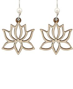 wood laser cutjewelry   Buddhist Earrings   Lotus Earrings   Laser Cut Jewelry by ella