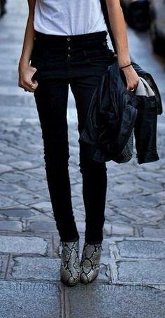 snakeskin booties with black skinny jeans