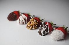 Chocolate Covered Strawberry Charm Set, Valentines Day Charms, Miniature Food Jewelry. $35.00, via Etsy.