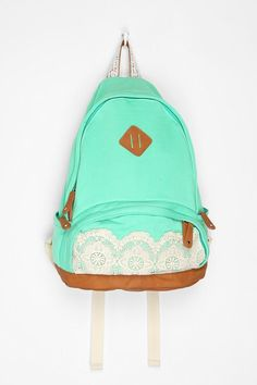 Kimchi Blue Lace backpack from Urban Outfitters. Sea foam green and white lace - my favorites! Lace Backpack, Backpack Bags, Puppy Backpack, Cute Backpacks, School Backpacks, Canvas Backpacks, Lily Pulitzer, Urban Outfitters, Women's Handbags