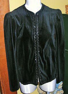 Womens Black Velvet Sequins Jacket Dressy Boston Maid Top Size 12 | eBay