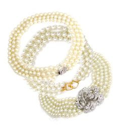 Kenneth Jay Lane faux pearl necklaces worn by Audrey Hepburn, Barbara Bush and Jackie O.