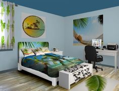 This Palm Tree Breeze bedroom decor makes waking up on a tropical beach possible without having to live anywhere near the ocean. See more at www.visionbedding.com/Palm-Tree-Breeze_Bedroom-rm-13437#sthash.6XR6zmOB.dpuf